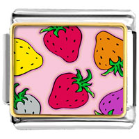 Italian Charms - golden italian charm bracelet plated cartoon theme photo strawberry summer photo italian charm Image.