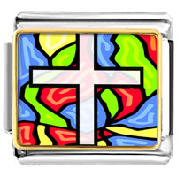 Items from KS - bracelet golden italian charm plated religion stained glass photo photo italian charm Image.