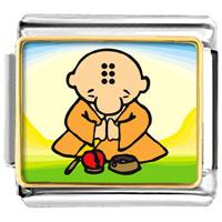 Italian Charms - golden italian charm bracelet plated religion buddhism little monk photo photo italian charm Image.