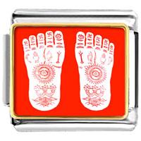 Italian Charms - golden italian charm bracelet plated religion buddhism footprint photo photo italian charm Image.
