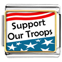 Support Our Troops Flag Photo Italian Charms Links
