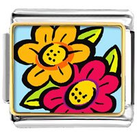 Italian Charms - flowers photo italian charm Image.