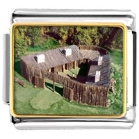 Italian Charms - huts on green italian charm art photo italian charm Image.