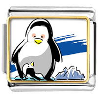 Italian Charms - cute penguins mother looking at baby photo italian charm animal Image.