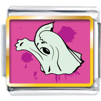 Italian Charms - halloween pink background terrible ghost gift italian charms photo italian charm Image.