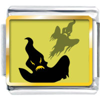 Italian Charms - halloween yellow background terrible black ghost gift italian charms photo italian charm Image.