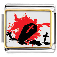 Items from KS - halloween red black cross tombstone gift italian charm photo italian charm Image.