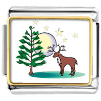 Italian Charms - xmas tree deer moon photo italian charm bracelet Image.