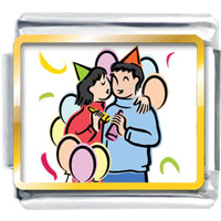 Italian Charms - happy lovers gift photo italian charm Image.