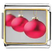 Italian Charms - christmas red ball heart photo italian charm bracelet Image.