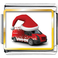 Italian Charms - truck wearing red christmas hat photo italian charm Image.