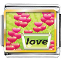 Italian Charms - pink heart balloon photo charm italian photo italian charm Image.