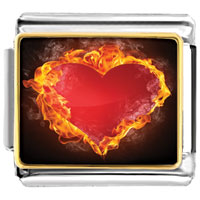 Italian Charms - burning fire around red heart photo italian charm bracelet Image.