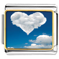 Italian Charms - white clouds heart in blue sky photo italian charm bracelet Image.
