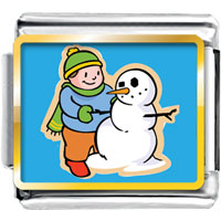 Italian Charms - boy making christmas gifts snowman photo italian charm Image.