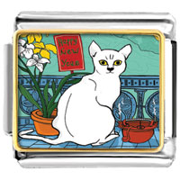 Italian Charms - happy new year white cat photo charm italian photo italian charm Image.