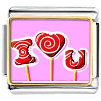 Italian Charms - red i love lollipop gift wedding italian charm bracelet photo italian charm Image.