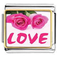 Items from KS - pink roses love gift wedding italian charm photo italian charm Image.