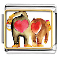 Italian Charms - lovely big small monkey red heart photo italian charm sale Image.