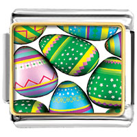 Items from KS - easter day colorful eggs photo italian charm bracelet Image.