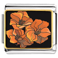 Items from KS - triple beautiful jacinth flowers photo charm italian photo italian charm Image.
