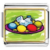 Italian Charms - easter day chicken coloful eggs on dish photo italian charm bracelet Image.