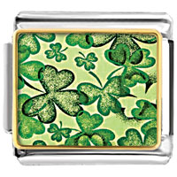 Items from KS - patrick' s day simple green clover photo italian charm bracelet Image.