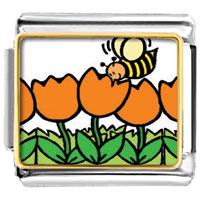 Italian Charms - yellow bee flying on orange flowers photo charm italian photo italian charm Image.