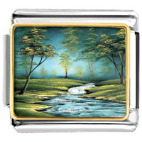 Forest Riverlet Green Trees Photo Flowers Nature Italian Charms Photo Italian Charm
