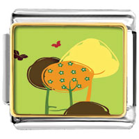 Italian Charms - trees double beautiful butterflies photo charm italian photo italian charm Image.