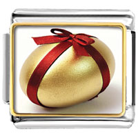 Items from KS - gold egg red ribbon photo charm italian photo italian charm Image.