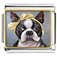 - puppy dog yellow bowknot photo italian charm Image.