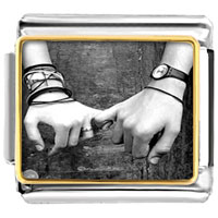 Italian Charms - boy girl pinkies together photo charm italian photo italian charm Image.