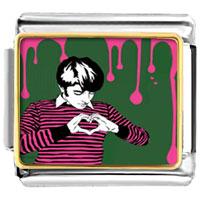 Italian Charms - boy using hands forming heart photo italian charm Image.