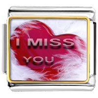 "Italian Charms - feather wrapped red heart "" i miss you""  photo italian charm bracelet Image."