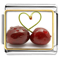 Italian Charms - cherry stem formed heart photo italian charm Image.