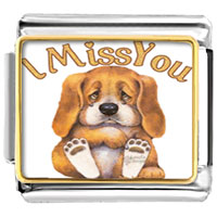 "Italian Charms - cute dog "" i miss you""  photo charm italian photo italian charm Image."