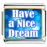 "Italian Charms - blue lights words "" have nice dream""  photo italian charm bracelet Image."