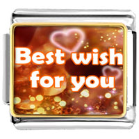 "Italian Charms - hearts words "" best wish you""  photo charm italian photo italian charm Image."