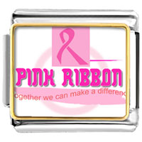 "Items from KS - pink ribbon breast cancer awareness words "" together we make difference""  photo italian charm bracelet Image."