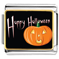 Italian Charms - jack o lantern halloween orange pumpkin and happy halloween photo photo italian charm Image.