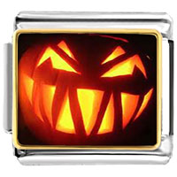 Italian Charms - jack o lantern halloween single pumpkin photo photo italian charm Image.