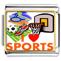"Italian Charms - various sports "" i love sports""  photo hobbies &  professions italian charm photo italian charm Image."