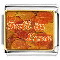 Italian Charms - beautiful leaves fall in love photo flowers &  nature italian charm bracelet photo italian charm Image.