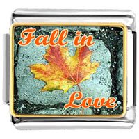 Italian Charms - leaf on brick fall in love photo word &  phases italian charm bracelet photo italian charm Image.