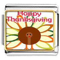 Italian Charms - thanksgiving day cute colorful turkey happy photo italian charms Image.