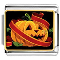 Italian Charms - jack o lantern halloween pumpkin with red string photo photo italian charm Image.