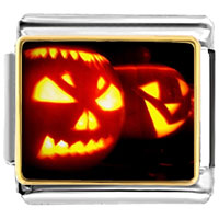 Italian Charms - jack o lantern halloween double pumpkins photo photo italian charm Image.