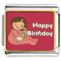 Italian Charms - little girl holding doll happy birthday photo word &  phases italian charm photo italian charm Image.