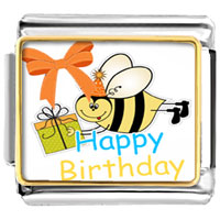Italian Charms - lovely bee gift box happy birthday photo celebration italian charm photo italian charm Image.